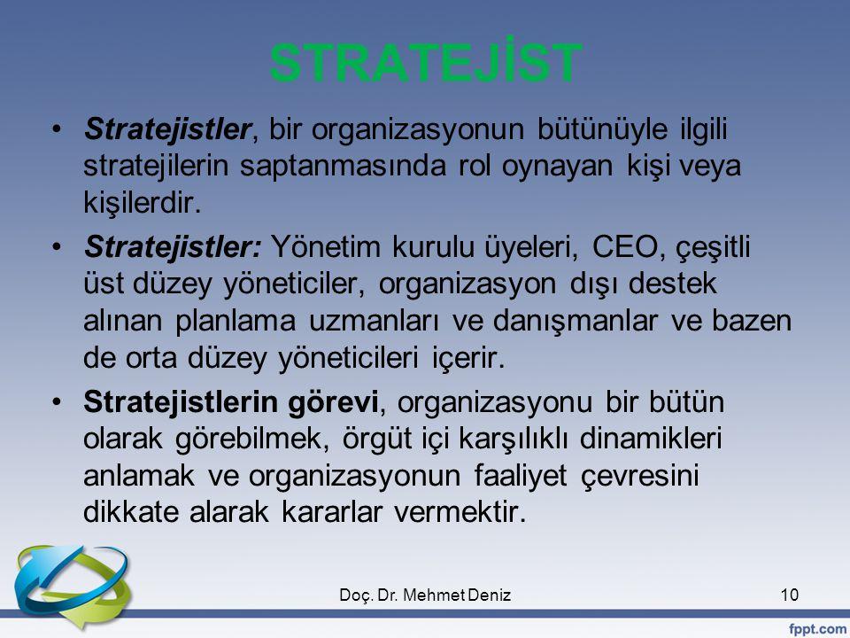 STRATEJİST Stratejistler, bir organizasyonun bütünüyle ilgili stratejilerin saptanmasında rol oynayan kişi veya kişilerdir.