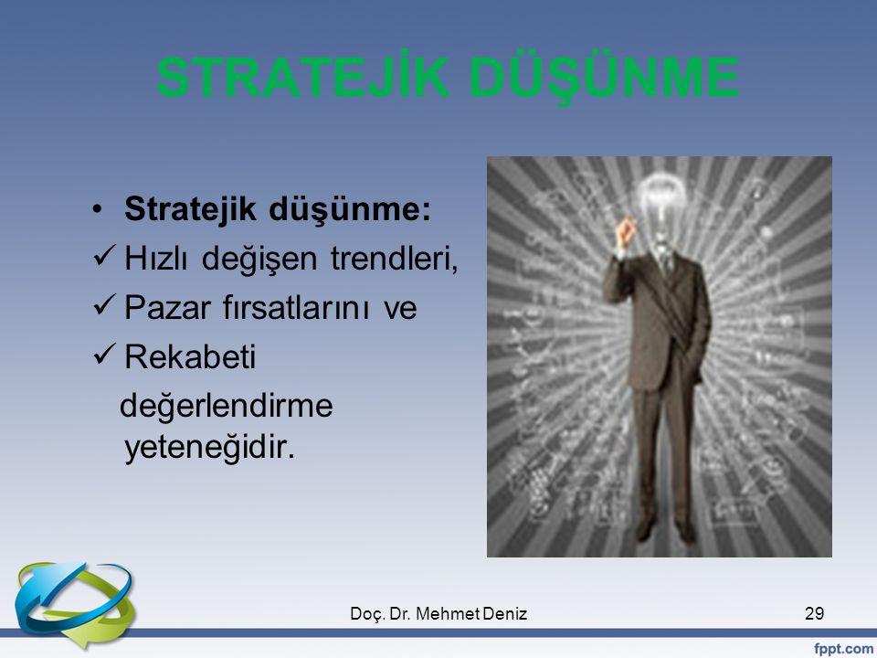 STRATEJİK DÜŞÜNME Stratejik düşünme: Hızlı değişen trendleri, Pazar fırsatlarını ve Rekabeti değerlendirme yeteneğidir.