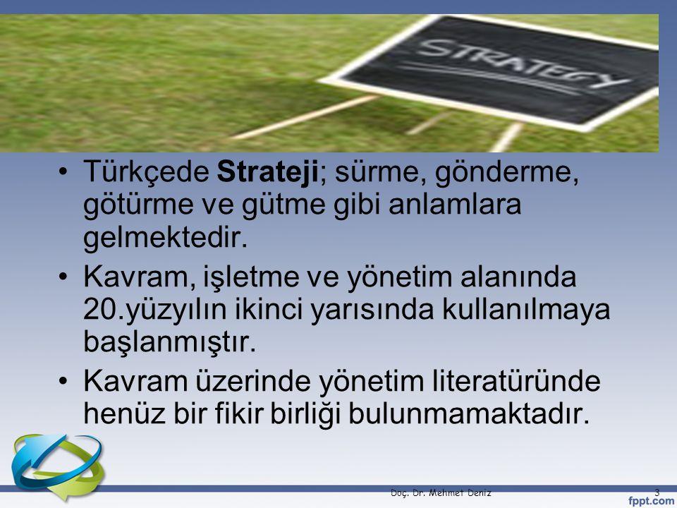 Türkçede Strateji; sürme, gönderme, götürme ve gütme gibi anlamlara gelmektedir.