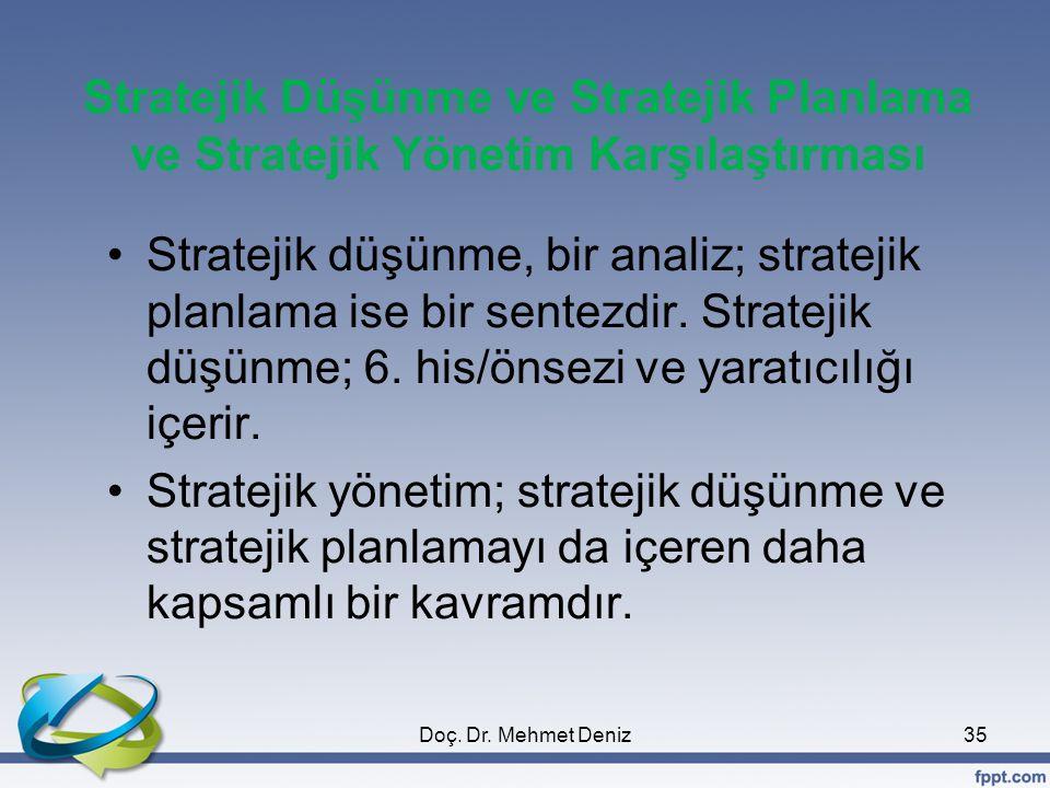 Stratejik Düşünme ve Stratejik Planlama ve Stratejik Yönetim Karşılaştırması Stratejik düşünme, bir analiz; stratejik planlama ise bir sentezdir.