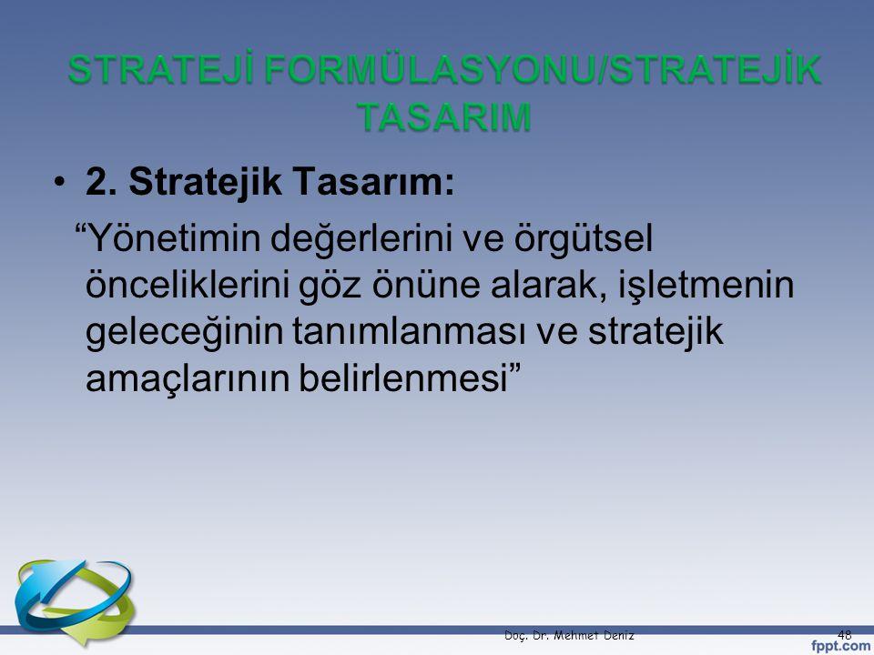"""2. Stratejik Tasarım: """"Yönetimin değerlerini ve örgütsel önceliklerini göz önüne alarak, işletmenin geleceğinin tanımlanması ve stratejik amaçlarının"""