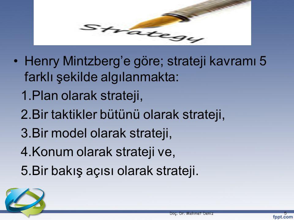 Henry Mintzberg'e göre; strateji kavramı 5 farklı şekilde algılanmakta: 1.Plan olarak strateji, 2.Bir taktikler bütünü olarak strateji, 3.Bir model olarak strateji, 4.Konum olarak strateji ve, 5.Bir bakış açısı olarak strateji.