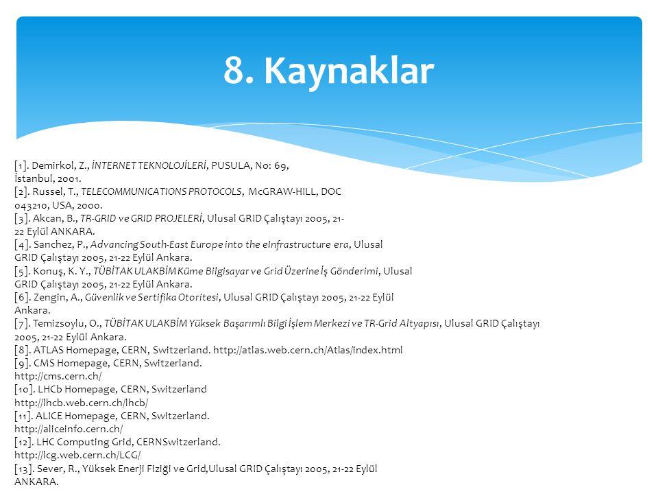 8. Kaynaklar [1]. Demirkol, Z., İNTERNET TEKNOLOJİLERİ, PUSULA, No: 69, İstanbul, 2001. [2]. Russel, T., TELECOMMUNICATIONS PROTOCOLS, McGRAW-HILL, DO