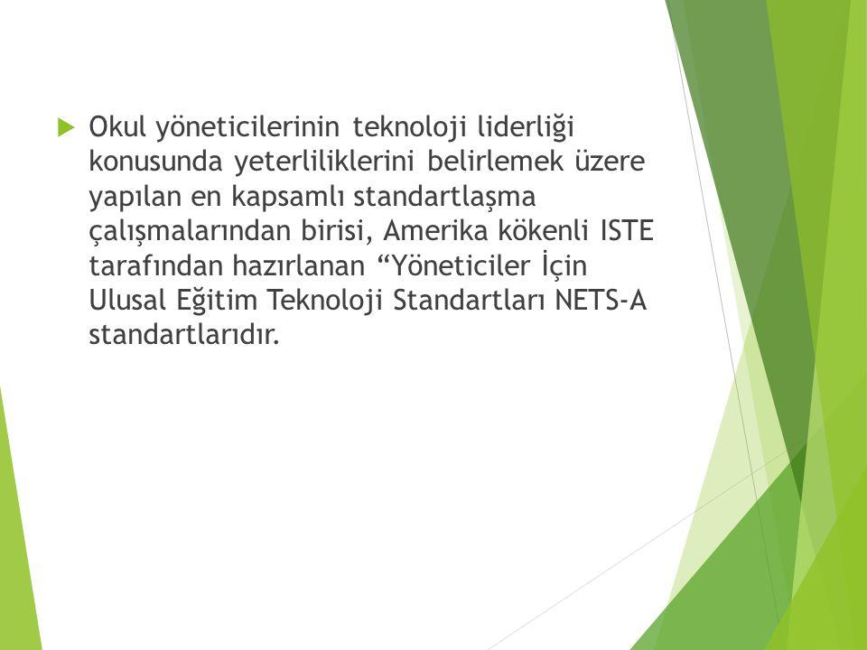  Okul yöneticilerinin teknoloji liderliği konusunda yeterliliklerini belirlemek üzere yapılan en kapsamlı standartlaşma çalışmalarından birisi, Amerika kökenli ISTE tarafından hazırlanan Yöneticiler İçin Ulusal Eğitim Teknoloji Standartları NETS-A standartlarıdır.