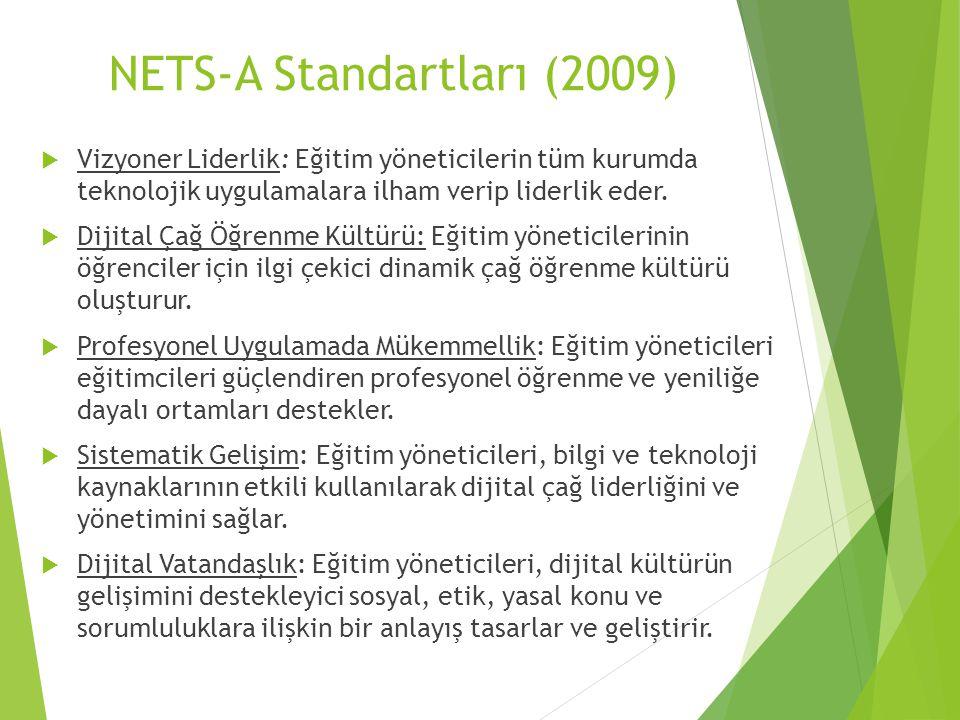 NETS-A Standartları (2009)  Vizyoner Liderlik: Eğitim yöneticilerin tüm kurumda teknolojik uygulamalara ilham verip liderlik eder.  Dijital Çağ Öğre