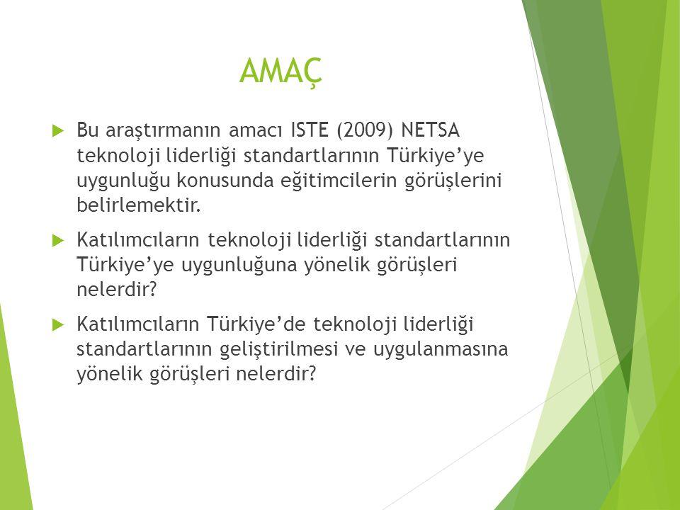 AMAÇ  Bu araştırmanın amacı ISTE (2009) NETSA teknoloji liderliği standartlarının Türkiye'ye uygunluğu konusunda eğitimcilerin görüşlerini belirlemektir.