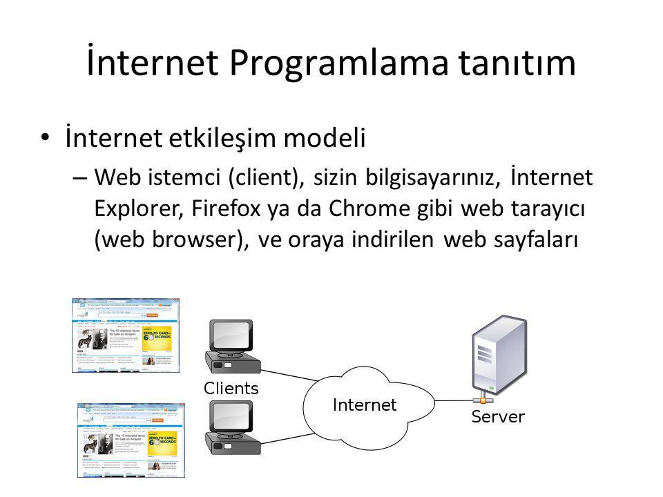 İnternet Programlama tanıtım İnternet etkileşim modeli – Web istemci (client), sizin bilgisayarınız, İnternet Explorer, Firefox ya da Chrome gibi web tarayıcı (web browser), ve oraya indirilen web sayfaları