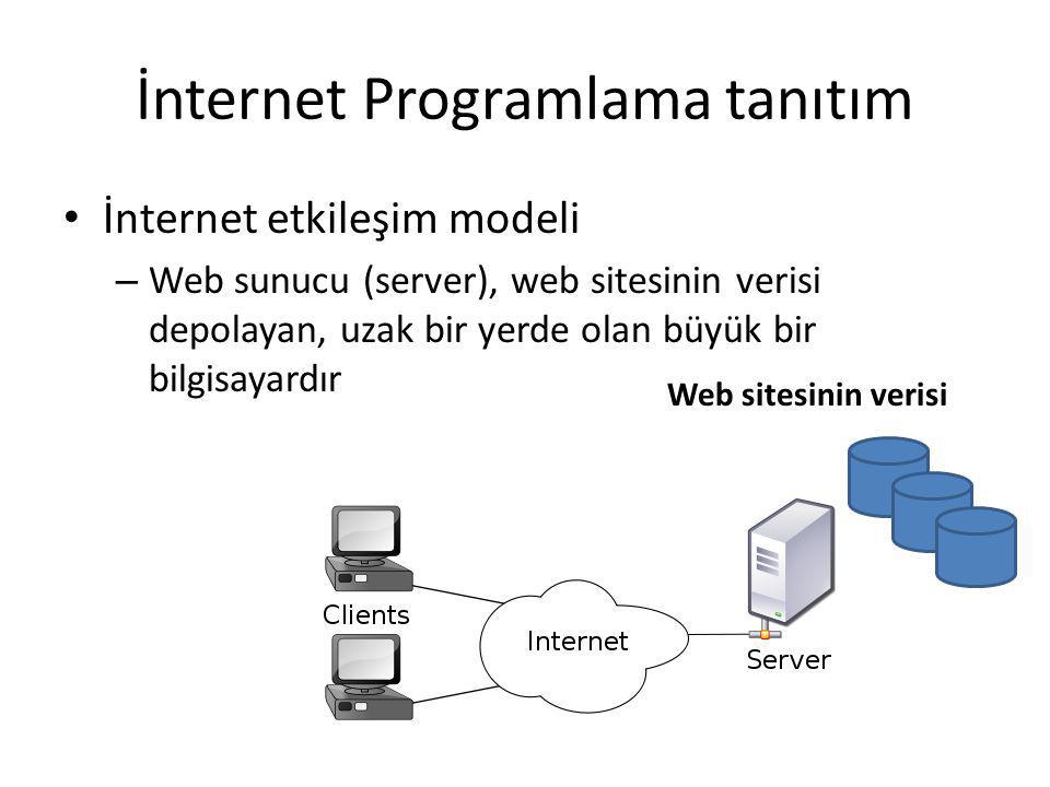 İnternet Programlama tanıtım İnternet etkileşim modeli – Web sunucu (server), web sitesinin verisi depolayan, uzak bir yerde olan büyük bir bilgisayardır Web sitesinin verisi
