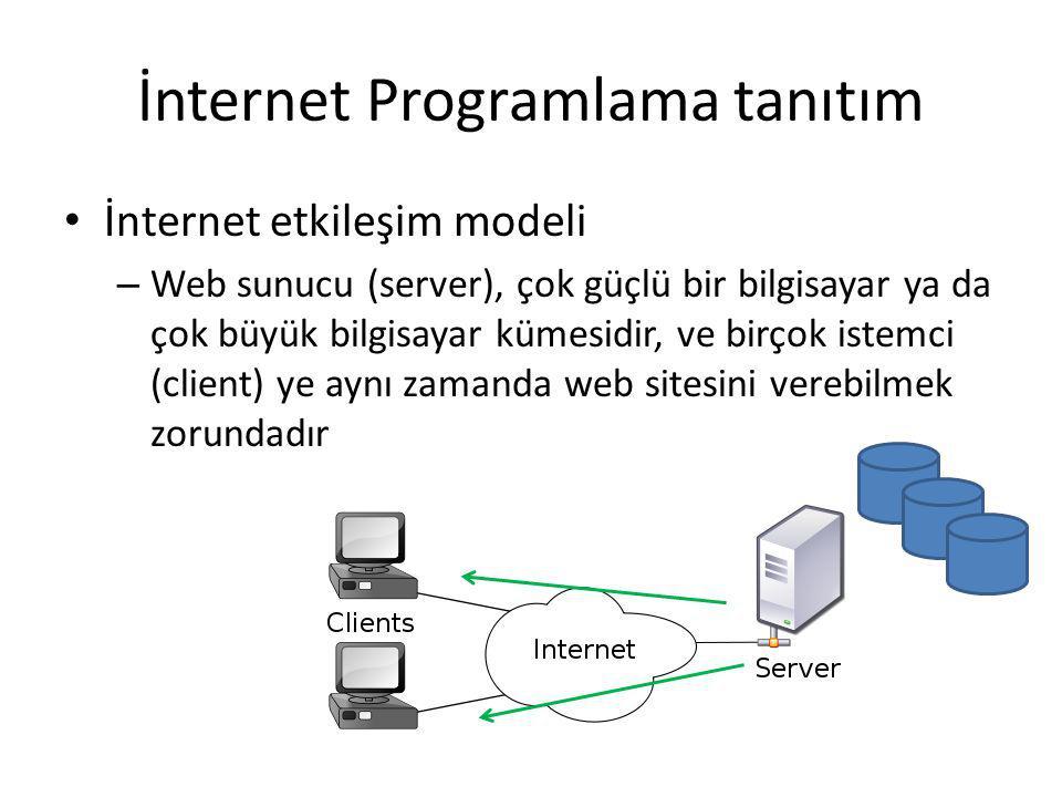 İnternet Programlama tanıtım İnternet etkileşim modeli – Web sunucu (server), çok güçlü bir bilgisayar ya da çok büyük bilgisayar kümesidir, ve birçok istemci (client) ye aynı zamanda web sitesini verebilmek zorundadır