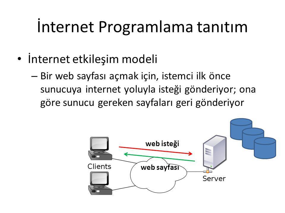 İnternet Programlama tanıtım İnternet etkileşim modeli – Bir web sayfası açmak için, istemci ilk önce sunucuya internet yoluyla isteği gönderiyor; ona