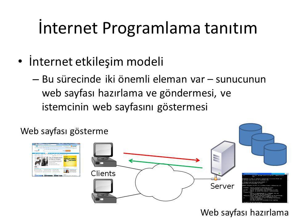 İnternet Programlama tanıtım İnternet etkileşim modeli – Bu sürecinde iki önemli eleman var – sunucunun web sayfası hazırlama ve göndermesi, ve istemc