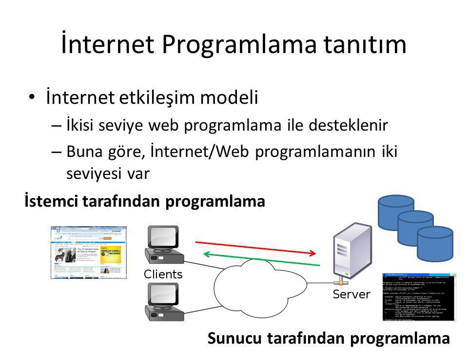 İnternet Programlama tanıtım İnternet etkileşim modeli – İkisi seviye web programlama ile desteklenir – Buna göre, İnternet/Web programlamanın iki sev