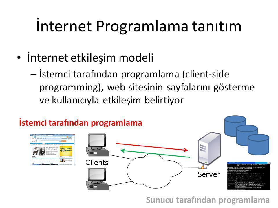 İnternet Programlama tanıtım İnternet etkileşim modeli – İstemci tarafından programlama (client-side programming), web sitesinin sayfalarını gösterme ve kullanıcıyla etkileşim belirtiyor İstemci tarafından programlama Sunucu tarafından programlama