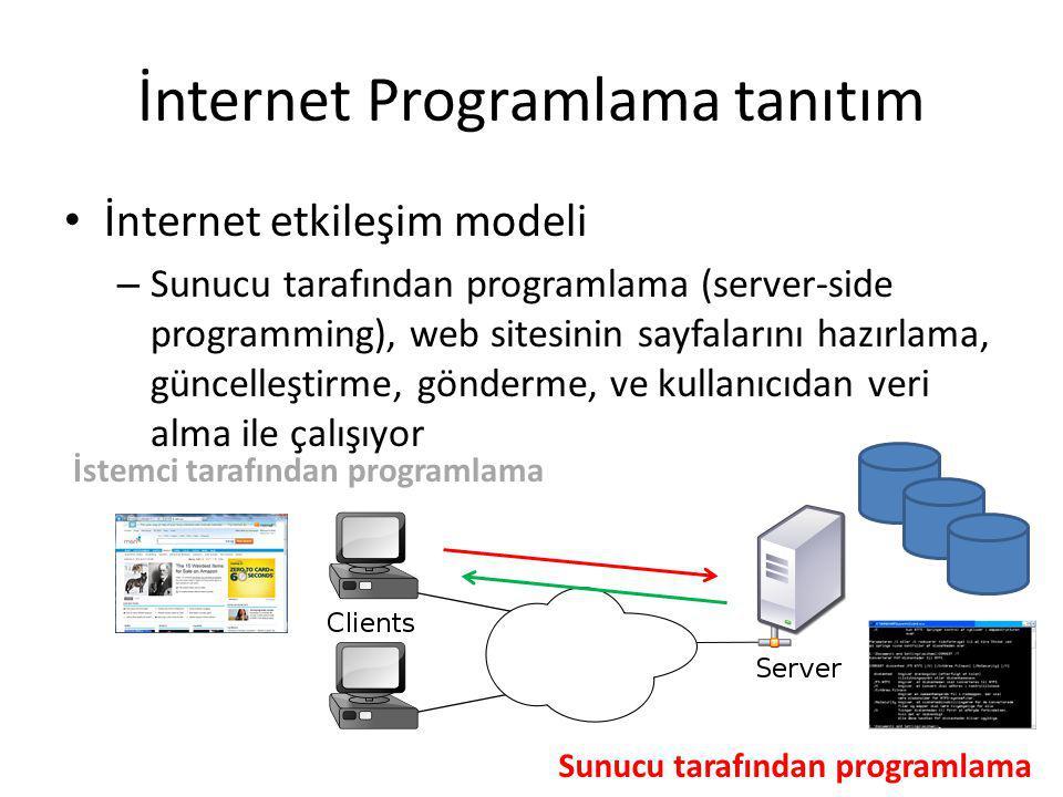İnternet Programlama tanıtım İnternet etkileşim modeli – Sunucu tarafından programlama (server-side programming), web sitesinin sayfalarını hazırlama, güncelleştirme, gönderme, ve kullanıcıdan veri alma ile çalışıyor İstemci tarafından programlama Sunucu tarafından programlama