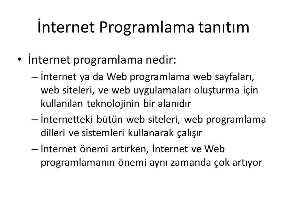 İnternet Programlama tanıtım İnternet programlama nedir: – İnternet ya da Web programlama web sayfaları, web siteleri, ve web uygulamaları oluşturma için kullanılan teknolojinin bir alanıdır – İnternetteki bütün web siteleri, web programlama dilleri ve sistemleri kullanarak çalışır – İnternet önemi artırken, İnternet ve Web programlamanın önemi aynı zamanda çok artıyor