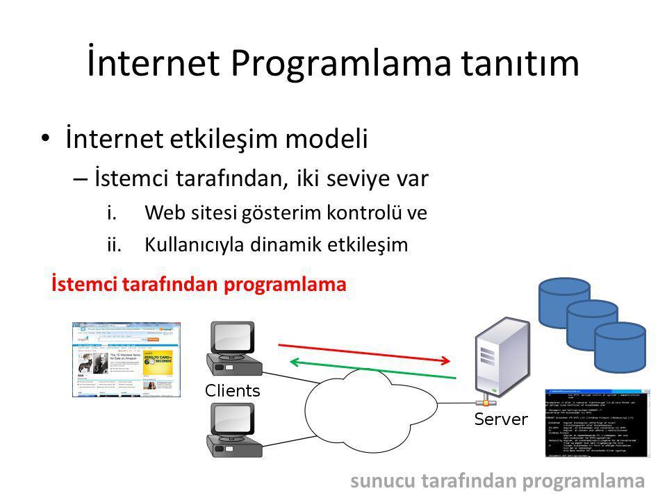 İnternet Programlama tanıtım İnternet etkileşim modeli – İstemci tarafından, iki seviye var i.Web sitesi gösterim kontrolü ve ii.Kullanıcıyla dinamik