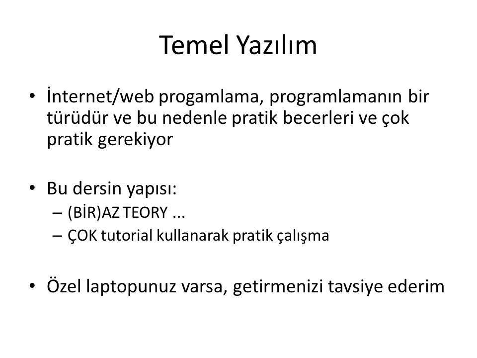 Temel Yazılım İnternet/web progamlama, programlamanın bir türüdür ve bu nedenle pratik becerleri ve çok pratik gerekiyor Bu dersin yapısı: – (BİR)AZ T