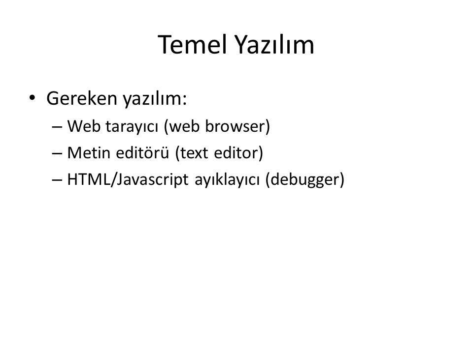Temel Yazılım Gereken yazılım: – Web tarayıcı (web browser) – Metin editörü (text editor) – HTML/Javascript ayıklayıcı (debugger)