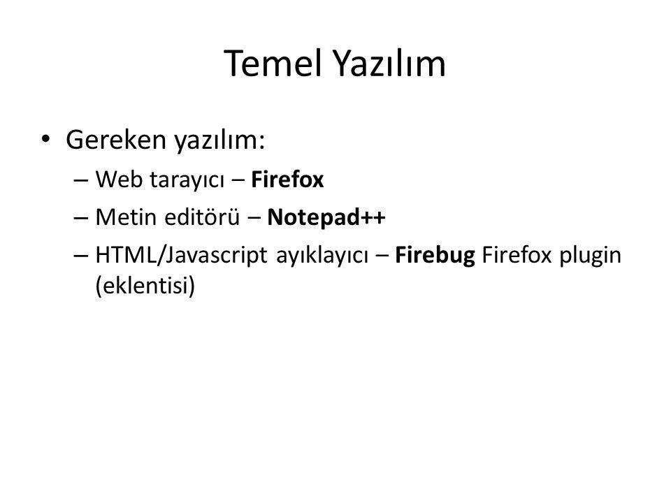 Temel Yazılım Gereken yazılım: – Web tarayıcı – Firefox – Metin editörü – Notepad++ – HTML/Javascript ayıklayıcı – Firebug Firefox plugin (eklentisi)