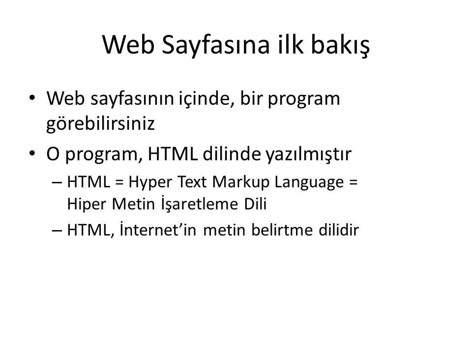 Web Sayfasına ilk bakış Web sayfasının içinde, bir program görebilirsiniz O program, HTML dilinde yazılmıştır – HTML = Hyper Text Markup Language = Hi