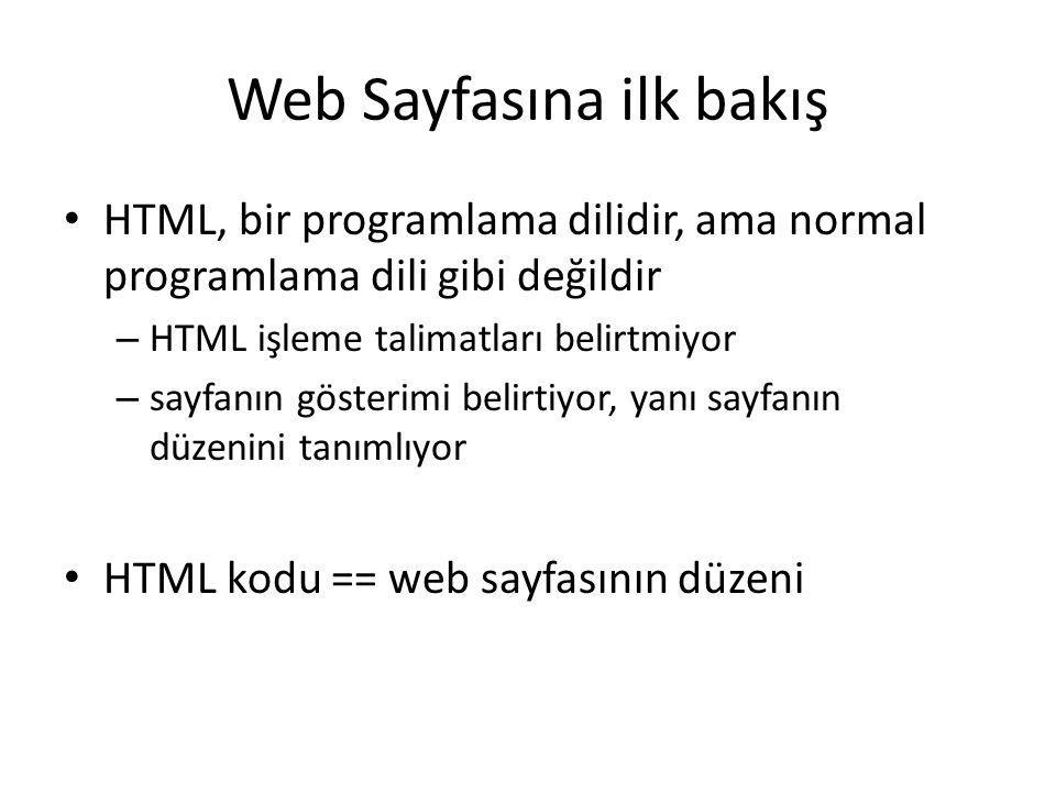 Web Sayfasına ilk bakış HTML, bir programlama dilidir, ama normal programlama dili gibi değildir – HTML işleme talimatları belirtmiyor – sayfanın göst