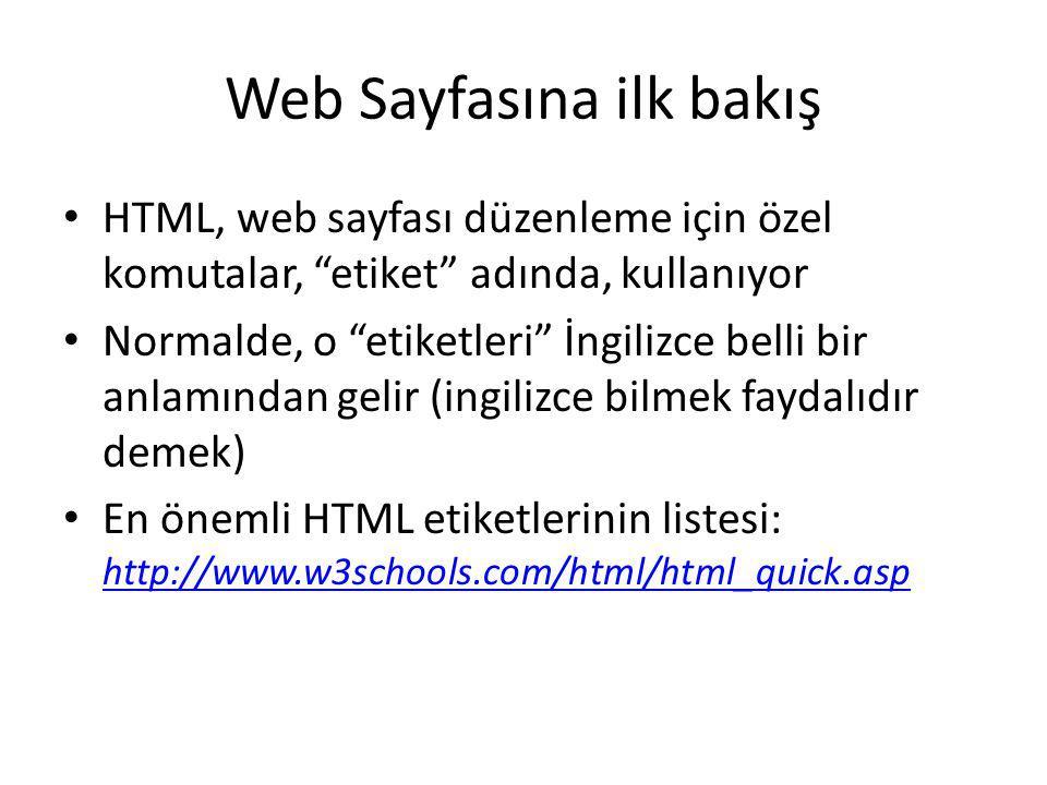 Web Sayfasına ilk bakış HTML, web sayfası düzenleme için özel komutalar, etiket adında, kullanıyor Normalde, o etiketleri İngilizce belli bir anlamından gelir (ingilizce bilmek faydalıdır demek) En önemli HTML etiketlerinin listesi: http://www.w3schools.com/html/html_quick.asp http://www.w3schools.com/html/html_quick.asp