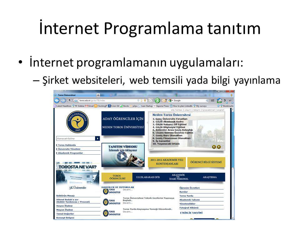 İnternet Programlama tanıtım İnternet programlamanın uygulamaları: – Şirket websiteleri, web temsili yada bilgi yayınlama