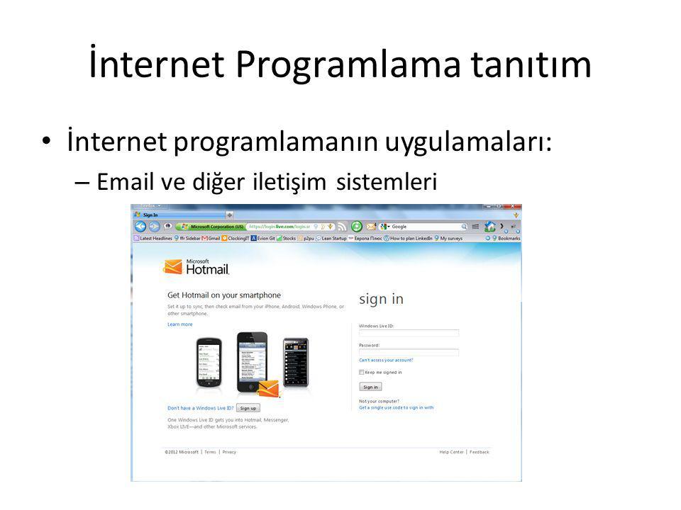 İnternet Programlama tanıtım İnternet programlamanın uygulamaları: – Email ve diğer iletişim sistemleri