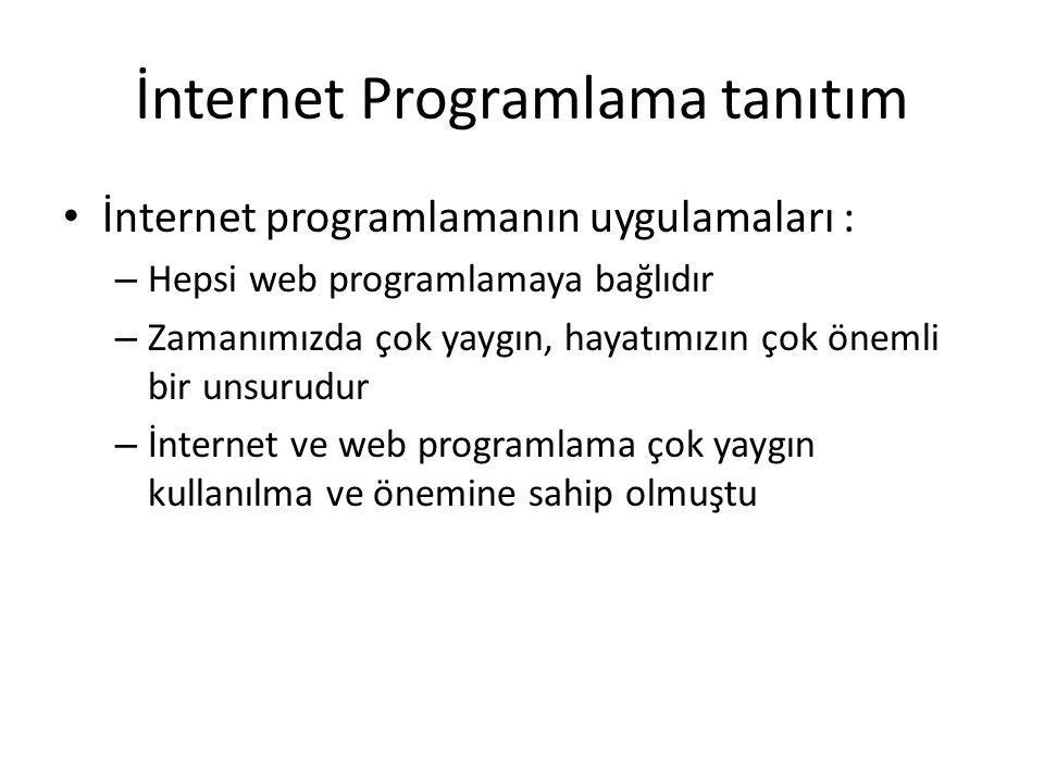 İnternet Programlama tanıtım İnternet programlamanın uygulamaları : – Hepsi web programlamaya bağlıdır – Zamanımızda çok yaygın, hayatımızın çok önemli bir unsurudur – İnternet ve web programlama çok yaygın kullanılma ve önemine sahip olmuştu