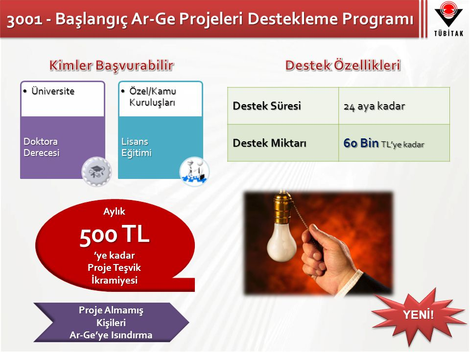 3001 - Başlangıç Ar-Ge Projeleri Destekleme Programı Destek Süresi 24 aya kadar Destek Miktarı 60 Bin TL'ye kadar ÜniversiteÜniversite Doktora Derecesi Özel/Kamu KuruluşlarıÖzel/Kamu Kuruluşları Lisans Eğitimi Proje Almamış Kişileri Ar-Ge'ye Isındırma Aylık 500 TL 'ye kadar Proje Teşvik İkramiyesi YENİ!YENİ!