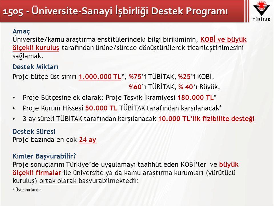 1505 - Üniversite-Sanayi İşbirliği Destek Programı Amaç Üniversite/kamu araştırma enstitülerindeki bilgi birikiminin, KOBİ ve büyük ölçekli kuruluş tarafından ürüne/sürece dönüştürülerek ticarileştirilmesini sağlamak.