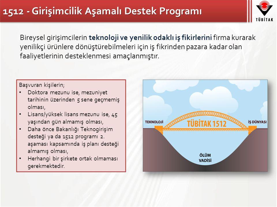 1512 - Girişimcilik Aşamalı Destek Programı Bireysel girişimcilerin teknoloji ve yenilik odaklı iş fikirlerini firma kurarak yenilikçi ürünlere dönüştürebilmeleri için iş fikrinden pazara kadar olan faaliyetlerinin desteklenmesi amaçlanmıştır.