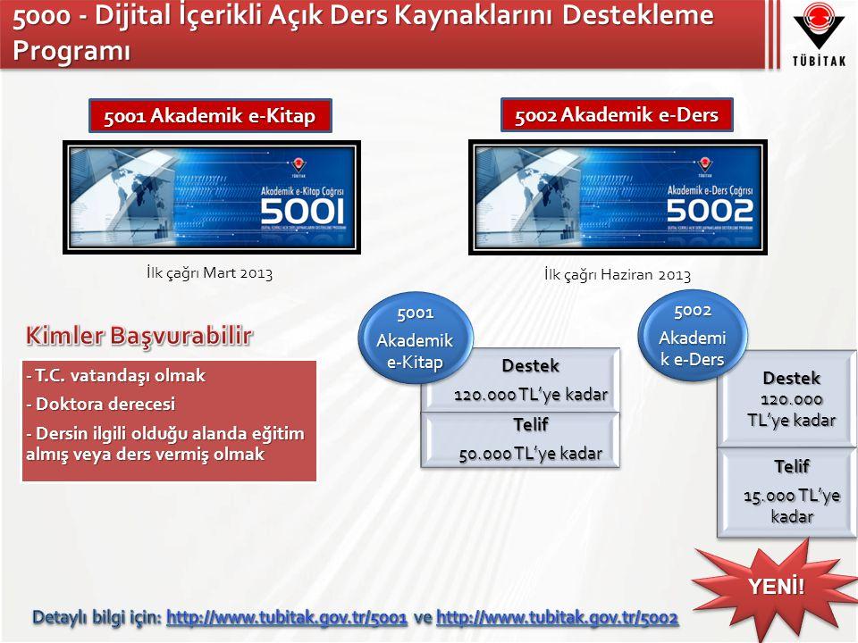 5000 - Dijital İçerikli Açık Ders Kaynaklarını Destekleme Programı 5002 Akademik e-Ders 5001 Akademik e-Kitap İlk çağrı Mart 2013 İlk çağrı Haziran 2013 YENİ!YENİ!