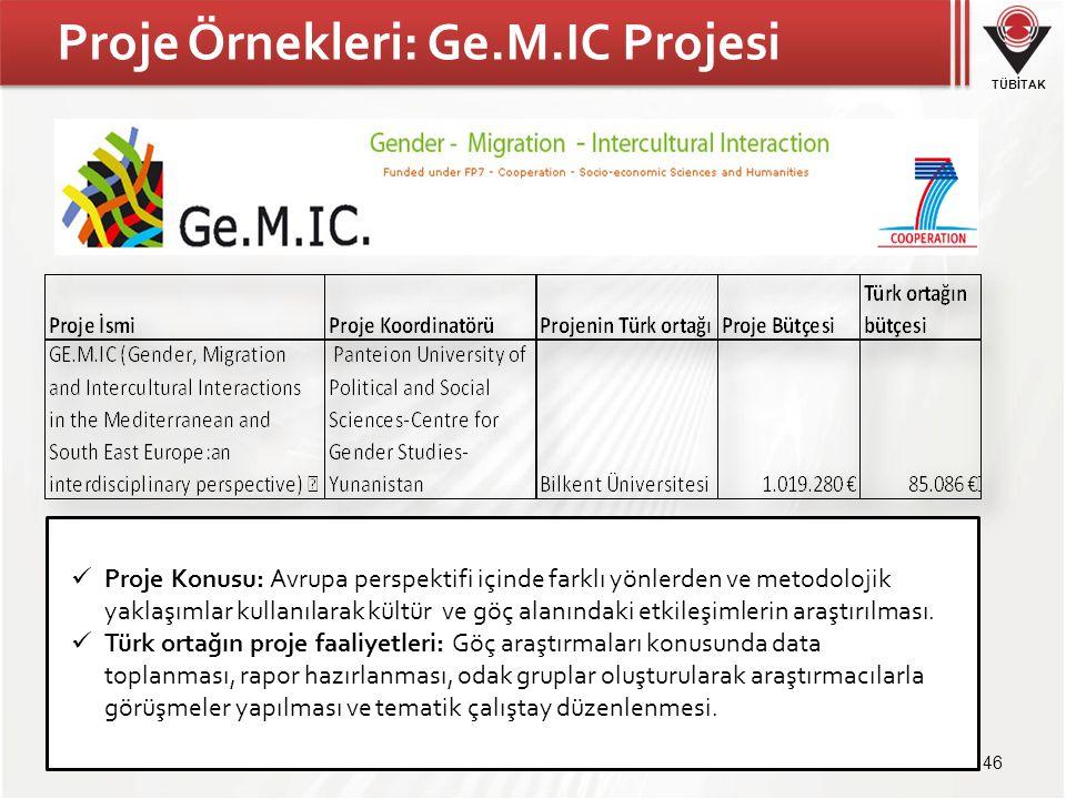 TÜBİTAK Proje Örnekleri: Ge.M.IC Projesi 46 Proje Konusu: Avrupa perspektifi içinde farklı yönlerden ve metodolojik yaklaşımlar kullanılarak kültür ve göç alanındaki etkileşimlerin araştırılması.