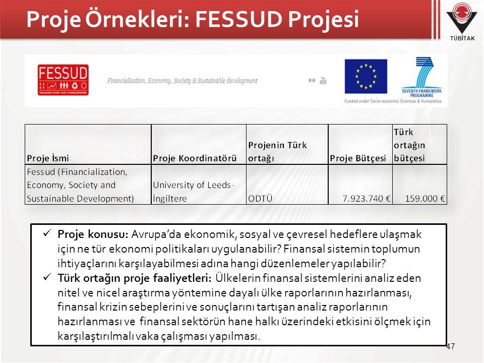 TÜBİTAK Proje Örnekleri: FESSUD Projesi 47 Proje konusu: Avrupa'da ekonomik, sosyal ve çevresel hedeflere ulaşmak için ne tür ekonomi politikaları uygulanabilir.