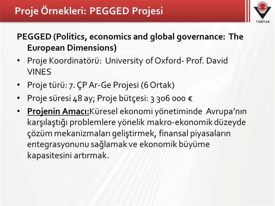 TÜBİTAK Proje Örnekleri: PEGGED Projesi PEGGED (Politics, economics and global governance: The European Dimensions ) Proje Koordinatörü: University of Oxford- Prof.