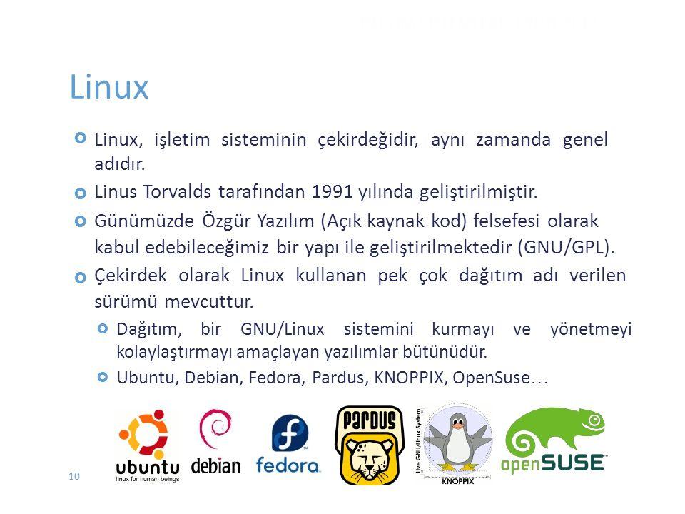Linux  Linux, işletim sisteminin çekirdeğidir, aynı zamanda genel adıdır. Linus Torvalds tarafından 1991 yılında geliştirilmiştir. Günümüzde Ö