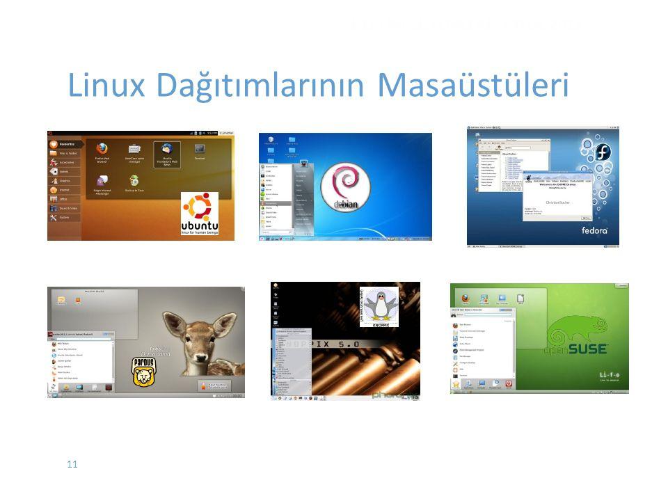 11 İŞLETİM SİSTEMLERİ - EYLÜL 2012 Linux Dağıtımlarının Masaüstüleri