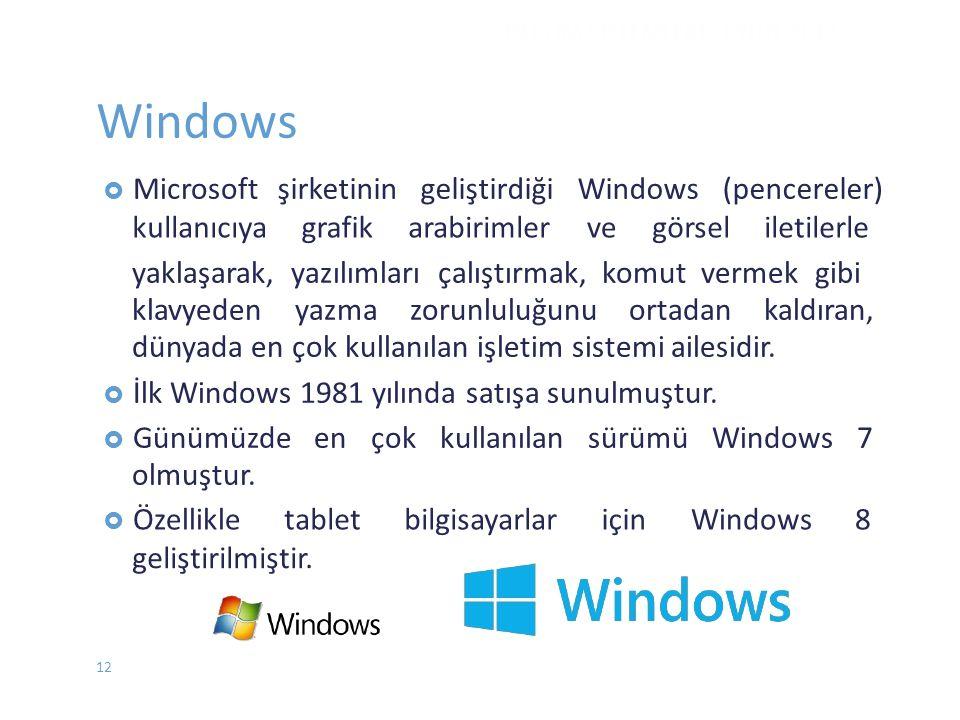 Windows İŞLETİM SİSTEMLERİ - EYLÜL 2012 12  Microsoftşirketinin geliştirdiği Windows (pencereler) kullanıcıyagrafikarabirimlervegörseliletilerle yakl