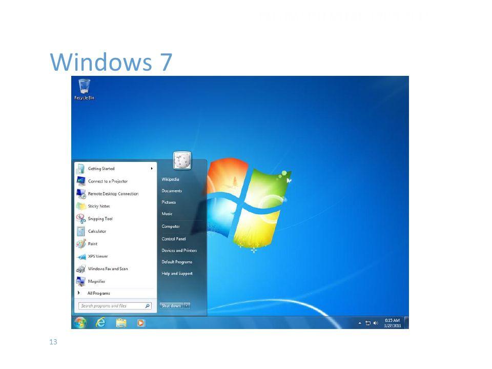 13 Windows 7 İŞLETİM SİSTEMLERİ - EYLÜL 2012