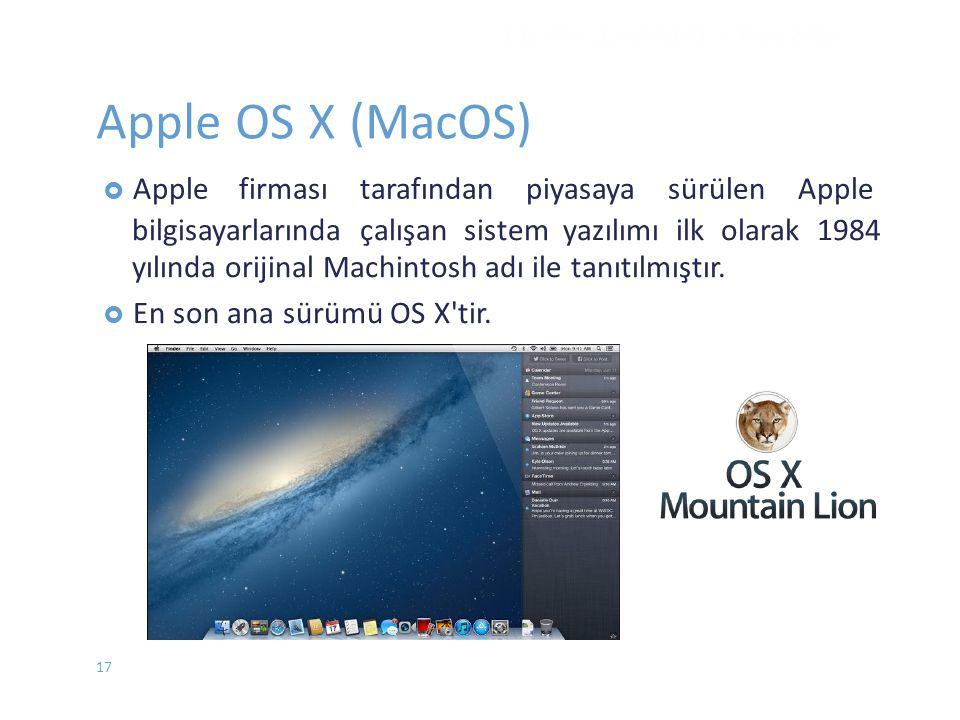  Applefirması tarafından piyasaya sürülen Apple bilgisayarlarında çalışan sistem yazılımı ilk olarak 1984 yılında orijinal Machintosh adı ile tanıtıl