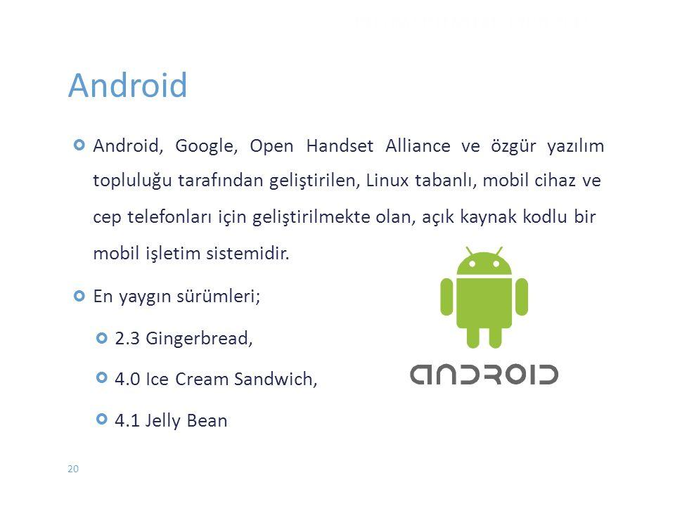 Android İŞLETİM SİSTEMLERİ - EYLÜL 2012 20  Android, Google, Open Handset Alliance ve özgür yazılım topluluğu tarafından geliştirilen, Linux taban