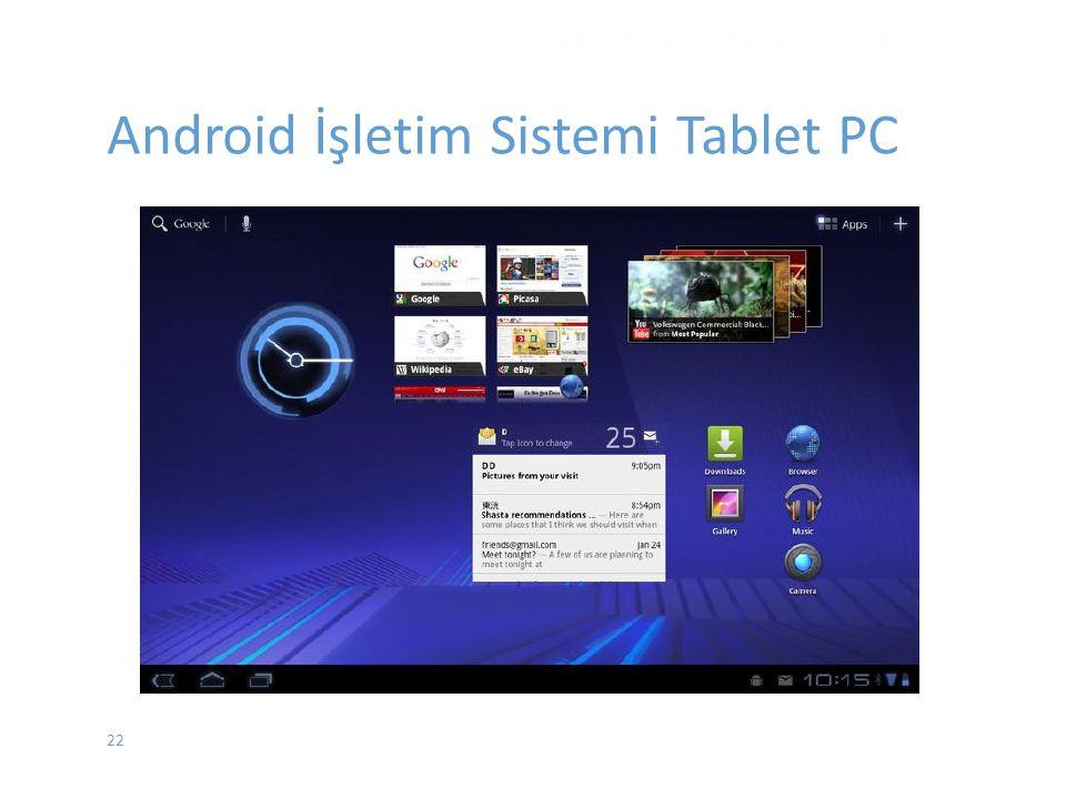 22 İŞLETİM SİSTEMLERİ - EYLÜL 2012 Android İşletim Sistemi Tablet PC
