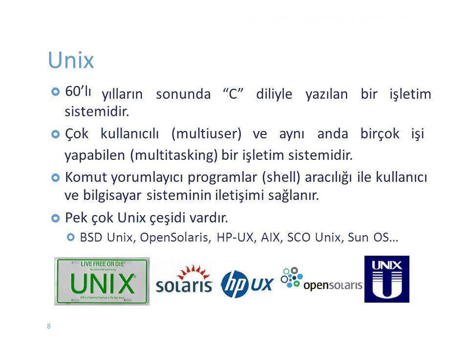Unix  60'lı sistemidir.  Çokkullanıcılı (multiuser) ve aynı anda birçok işi yapabilen (multitasking) bir işletim sistemidir.  Komut yorumlayıcı pro