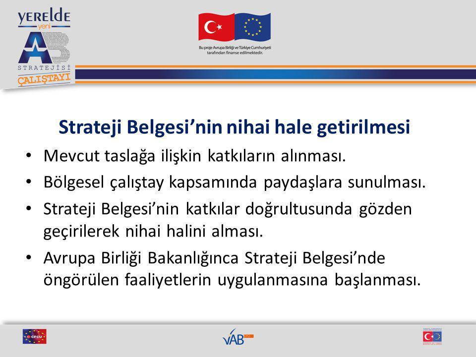 Strateji Belgesi'nin nihai hale getirilmesi Mevcut taslağa ilişkin katkıların alınması.