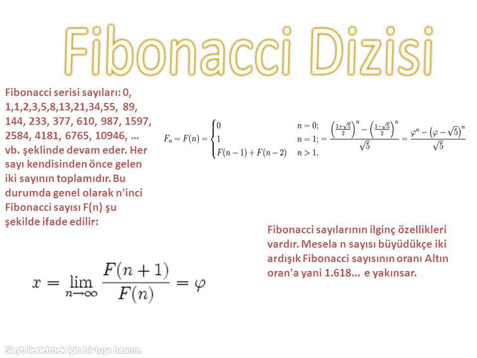 Fibonacci serisi sayıları: 0, 1,1,2,3,5,8,13,21,34,55, 89, 144, 233, 377, 610, 987, 1597, 2584, 4181, 6765, 10946, … vb. şeklinde devam eder. Her sayı