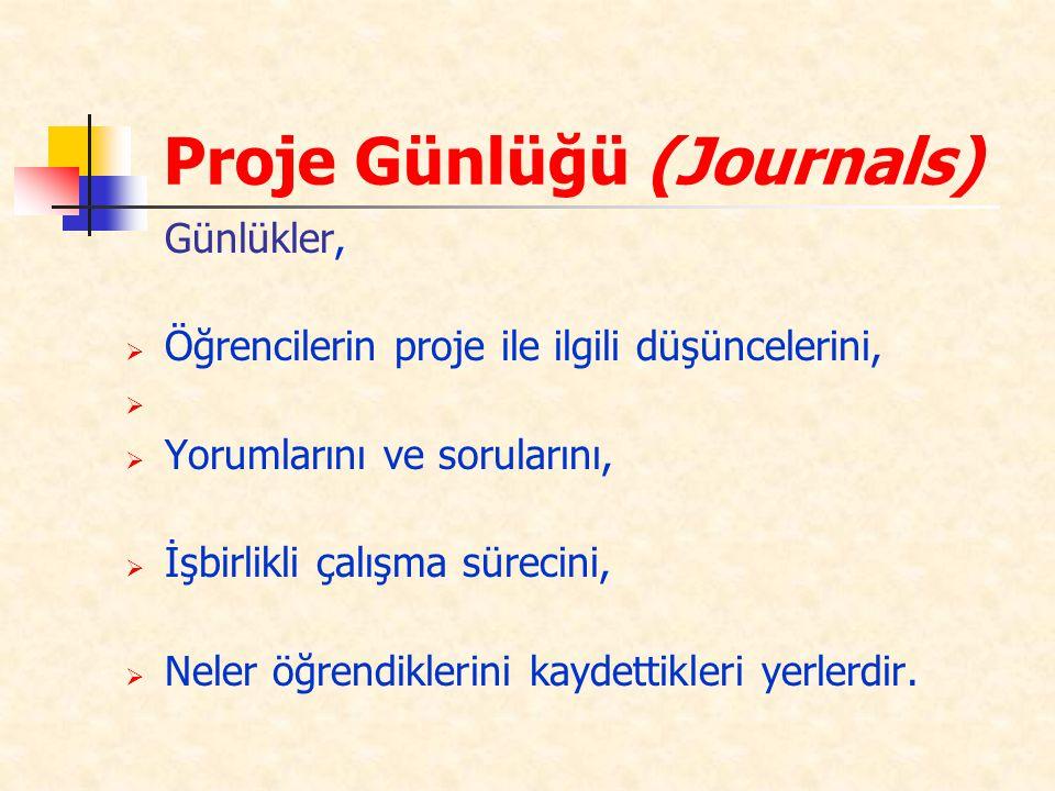 Proje Günlüğü (Journals) Günlükler,  Öğrencilerin proje ile ilgili düşüncelerini,   Yorumlarını ve sorularını,  İşbirlikli çalışma sürecini,  Nel