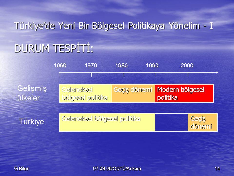G.Bilen07.09.06/ODTÜ/Ankara14 Türkiye'de Yeni Bir Bölgesel Politikaya Yönelim - I DURUM TESPİTİ: Modern bölgesel politika Geçiş dönemi Geleneksel bölgesel politika Geçiş dönemi Geleneksel bölgesel politika 19601980197019902000 Gelişmiş ülkeler Türkiye