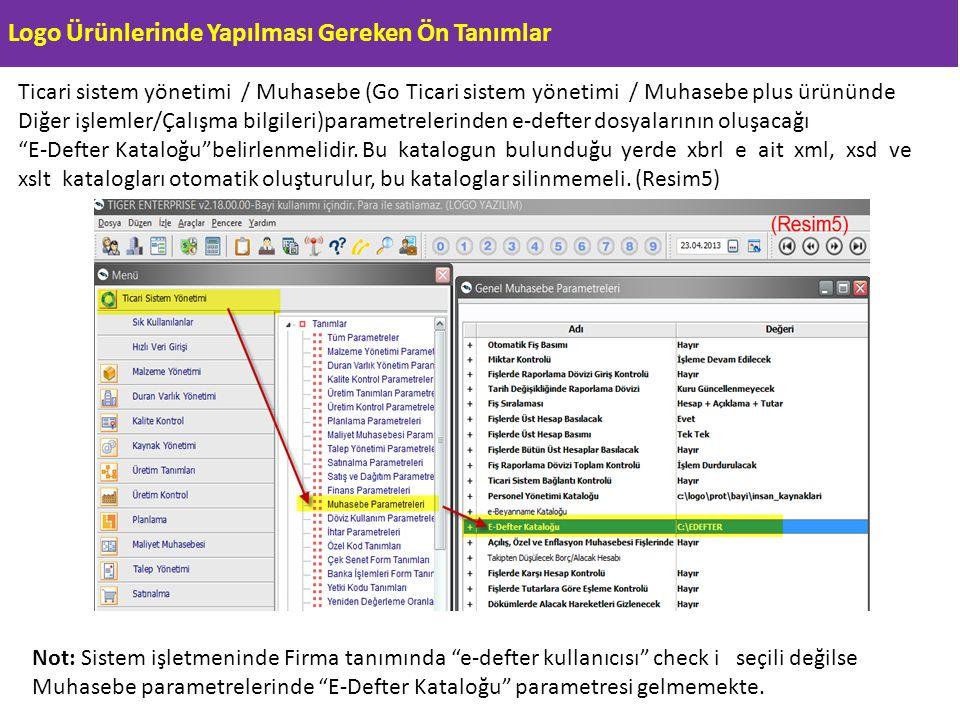 Logo Ürünlerinde Yapılması Gereken Ön Tanımlar Ticari sistem yönetimi / Muhasebe (Go Ticari sistem yönetimi / Muhasebe plus ürününde Diğer işlemler/Ça