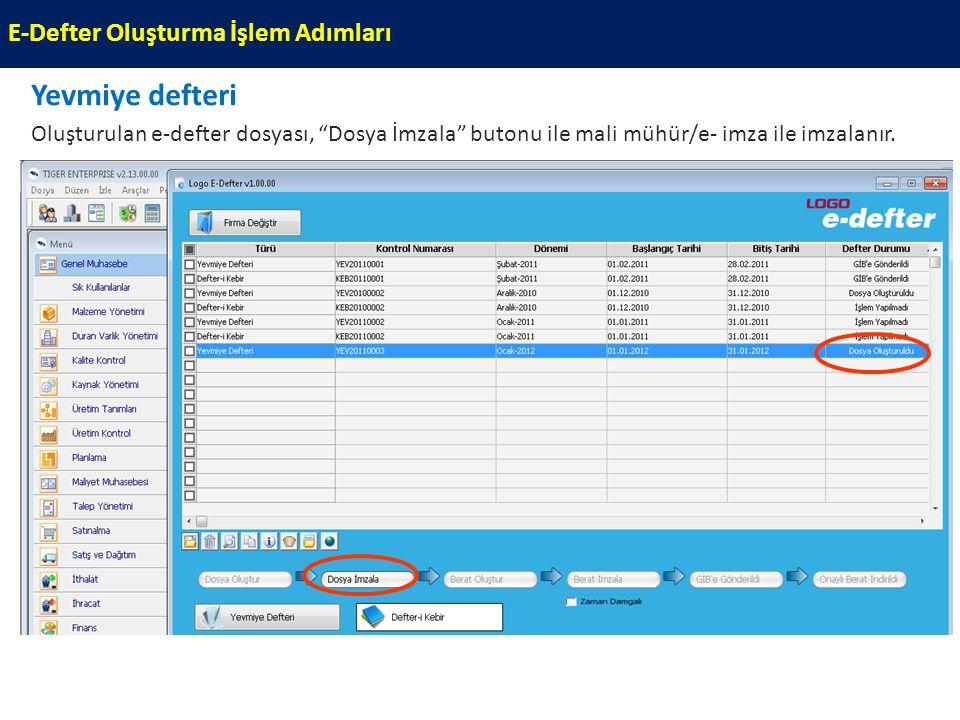 """Yevmiye defteri Oluşturulan e-defter dosyası, """"Dosya İmzala"""" butonu ile mali mühür/e- imza ile imzalanır. E-Defter Oluşturma İşlem Adımları"""